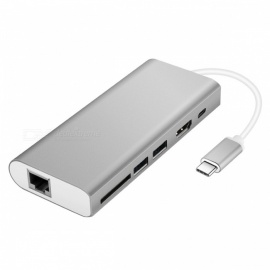 Multifunktions-Typ-C-Hub-Adapter mit USB3.0 / RJ45 Gigabit Ethernet / Typ-C PD / HDMI / SD-Kartensteckplatz - Silber