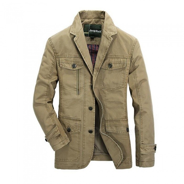 8288 Mens Casual Suit Jacket Coat - Khaki (M)Jackets and Coats<br>ColorkhakiSizeMModel8288Quantity1 pieceShade Of ColorBrownMaterialcottonStyleFashionTop FlySingle breastedShoulder Width42.5 cmChest Girth100 cmWaist Girth100 cmSleeve Length61 cmTotal Length70 cmSuitable for Height170 cmPacking List1 x Coat<br>