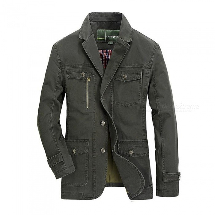 8288 Mens Casual Suit Jacket Coat - Army Green (3XL)Jackets and Coats<br>ColorArmy GreenSize3XLModel8288Quantity1 pieceShade Of ColorGreenMaterialcottonStyleFashionTop FlySingle breastedShoulder Width46.5 cmChest Girth116 cmWaist Girth116 cmSleeve Length67 cmTotal Length78 cmSuitable for Height190 cmPacking List1 x Coat<br>