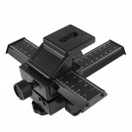 RXDZ Black Metal Professional 4-way Macro Focusing Rail Slider Tripod Bracket  for Camera DLSR