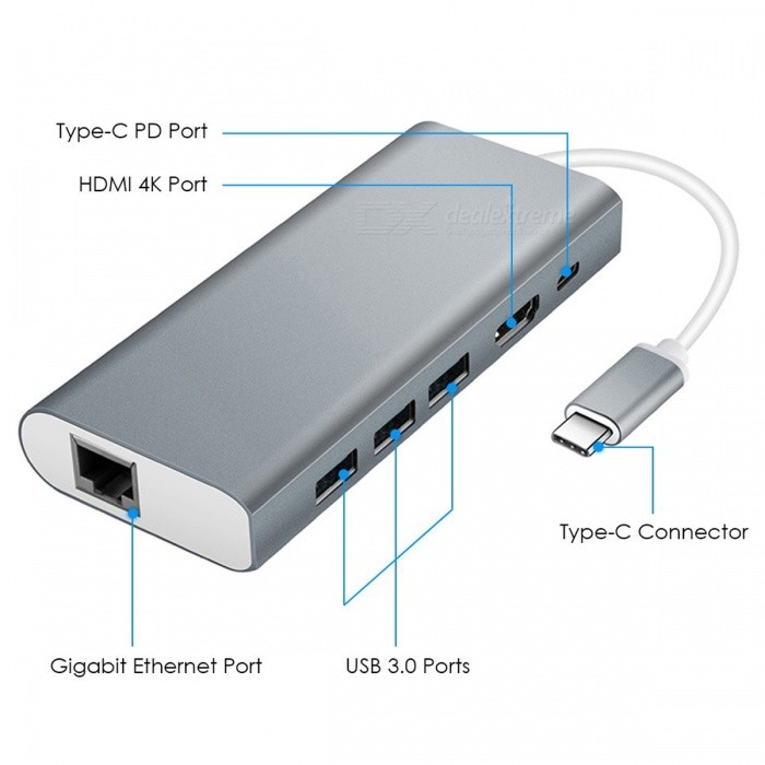 4-in-1 Multi-function USB Type-C Hub Adapter with USB3.0 / RJ45 Gigabit Ethernet / Type-C PD / HDMI Port - Gray