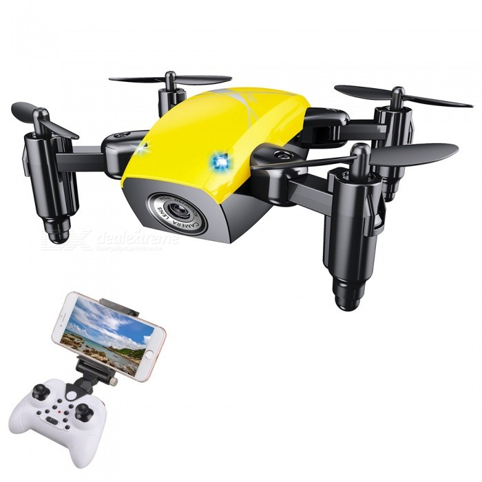 S9HW 2.4G 4 Channel Wi-Fi FPV Foldable Mini RC Helicopter Quadcopter Drone with 0.3MP HD Camera - YellowR/C Helicopters<br>ColorYellowModelS9HWMaterialABSQuantity1 pieceShade Of ColorYellowGyroscopeYesChannels Quanlity4 channelFunctionUp,Down,Left,Right,Forward,Backward,Stop,Hovering,Sideward flightRemote control frequency2.4GHzRemote TypeRadio ControlRemote Control Range30 mIndoor/OutdoorOutdoorSuitable Age 12-15 years,Grown upsCameraYesCamera Pixel0.3MPLamp YesBattery Capacity200 mAhBattery TypeLi-polymer batteryCharging Time40 minutesWorking Time5~7 minutesModelMode 2 (Left Throttle Hand)Remote Control TypeWirelessRemote Controller Battery TypeAAARemote Controller Battery Number3 (not included)Packing List1 x RC Quadcopter (built-in camera)1 x 2.4G Transmitter1 x USB Charging Cable (60cm)4 x Spare Propellers1 x Phone Holder2 x Protection rings1 x Chinese / English user manual<br>