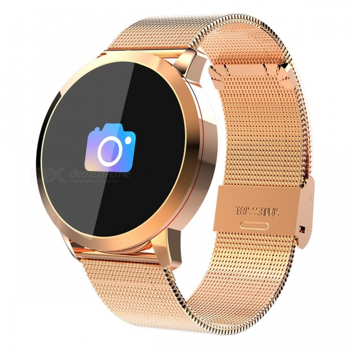 Q8 Smart Bracelet IP67 Waterproof Fitness Tracker Wrist Band with Real-time Heart Rate Monitoring - GoldSmart Bracelets<br>ColorGoldQuantity1 setMaterialSteel bandShade Of ColorGoldWater-proofIP67Bluetooth VersionBluetooth V4.0Touch Screen TypeYesCompatible OSiOS, Android 4.3 and higherBattery Capacity170 mAhBattery TypeLi-polymer batteryStandby Time5-7 hourPacking List1 x Smart Watch1 x USB Charging Cable1 x User Manual<br>