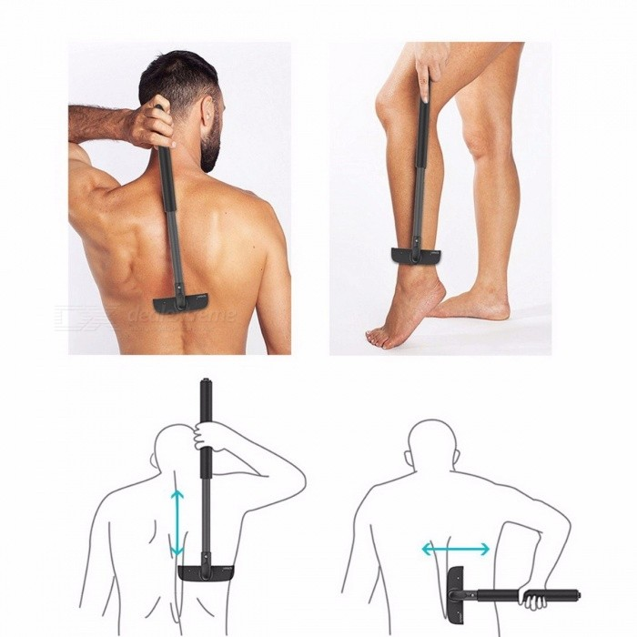 Portable High-quality Adjustable Stretchable Back Shaver for Men�� Sharp Durable Back Hair Trimmer Razor Black