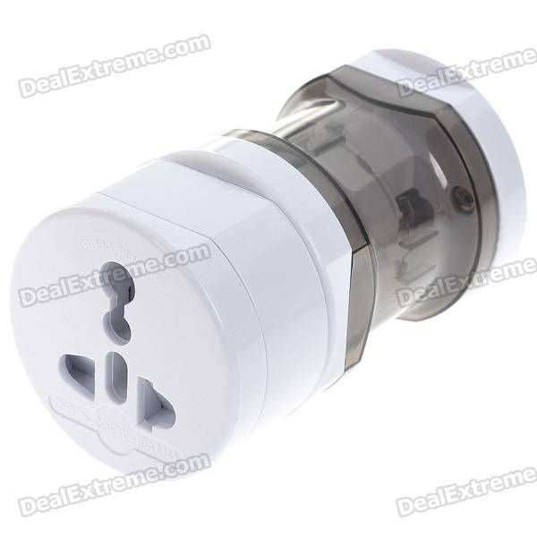 Compact Universal Travel Power Plug Adapter - White (UK/US/EU)