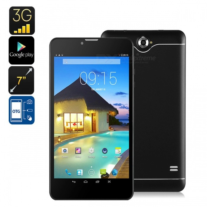7 3G Android Tablet PC with Dual-IMEI, 3G Support, Bluetooth, Google Play, Quad-Core, 2500mAh Battery - BlackAndroid Tablets<br>ColorBlackBrandOthersQuantity200 setMaterialFull Metal JacketProcessor BrandOthers,NoProcessor ModelOthers,MTKProcessor Speed1.3 GHzNumber of CoresQuad CoreGPUMali 400RAM/Memory TypeDDR1 SDRAM,OthersBuilt-in Memory / RAM512MBCapacity / ROM8GBScreen Size7.0 inchesScreen Size7 inches &amp; UnderScreen TypeIPSTouch TypeResistive screen,Capacitive screenResolution1280 x 800Touch Point5-point Capacitive Touch Screen3G TypeWCDMACompatible ModelNo3G Frequency Range850,21003G Function3G Phone callOperating SystemAndroid 4.42G Frequency Range850/900/1800/1900Supported NetworkWifi,Built-in 3G,2G Phone Call,External 3G,Bluetooth,GPSGPSYesWi-Fi StandardIEEE 802.11 b/g/nBluetooth VersionBluetooth V4.0Built-in SpeakersYesInterface1 x 3.5mm,1 x micro USB,1 x TFGoogle Play(Android Market)YesCamera type2 x CamerasFront Camera Pixels0.3 MPBack Camera Pixels2.0 MPStorage InterfaceTFButtonReset,SoundExternal Memory Max. Support32 GBMicrophone JackYesPower AdapterEU PlugSupported LanguagesEnglish,French,German,Italian,Spanish,Portuguese,Russian,Vietnamese,Polish,Greek,Danish,Norwegian,Dutch,Arabic,Turkey,Japanese,Bahasa Indonesia,Korean,Thai,Maltese,Hungarian,Latin,Persian,Malay,Slovak,Czech,Romanian,Swedish,Finnish,Simplified Chinese,Traditional Chinese,Bulgarian,Norwegian,Hebrew,OthersBattery Capacity2500 mAhBattery TypeLi-polymer batteryWorking Time5 hoursStandby Time48 hoursPacking List1 x Tablet PC1 x Data cable1 x Gauge charger1 x OTG line1 x Description<br>