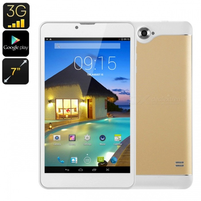 7 3G Android Tablet with Dual-IMEI, Bluetooth, Google Play, OTG, Quad-Core CPU, 2500mAh Battery - GoldenAndroid Tablets<br>ColorGoldenBrandOthersModelK0708Quantity200 setMaterialFull Metal JacketProcessor BrandOthers,NoProcessor ModelOthers,MTK6582Processor Speed1.3 GHzNumber of CoresQuad CoreGPUMali 400RAM/Memory TypeDDR1 SDRAMBuilt-in Memory / RAM512MBCapacity / ROM8GBScreen Size7.0 inchesScreen Size7 inches &amp; UnderScreen TypeIPSTouch TypeResistive screen,Capacitive screenResolution1280 x 8003G TypeWCDMACompatible ModelNo3G Frequency Range850,21003G Function3G Phone callOperating SystemAndroid 4.42G Frequency Range850/900/1800/1900Supported NetworkWifi,Built-in 3G,2G Phone Call,Bluetooth,GPSGPSYesWi-Fi StandardIEEE 802.11 b/g/nBluetooth VersionBluetooth V4.0Built-in SpeakersYesInterface1 x 3.5mm,1 x micro USB,1 x TFGoogle Play(Android Market)YesCamera type2 x CamerasFront Camera Pixels0.3 MPBack Camera Pixels2.0 MPStorage InterfaceTFButtonReset,SoundExternal Memory Max. Support32 GBMicrophone JackYesPower AdapterEU PlugSupported LanguagesEnglish,French,German,Italian,Spanish,Portuguese,Russian,Vietnamese,Polish,Greek,Danish,Norwegian,Dutch,Arabic,Turkey,Japanese,Bahasa Indonesia,Korean,Thai,Maltese,Hungarian,Latin,Persian,Malay,Slovak,Czech,Romanian,Swedish,Finnish,Simplified Chinese,Traditional Chinese,Bulgarian,Norwegian,Hebrew,OthersBattery Capacity2500 mAhBattery TypeLi-polymer batteryWorking Time5 hoursStandby Time48 hoursPacking List1 x Tablet PC1 x Data line1 x OTG line1 x Gauge charger1 x Specification<br>