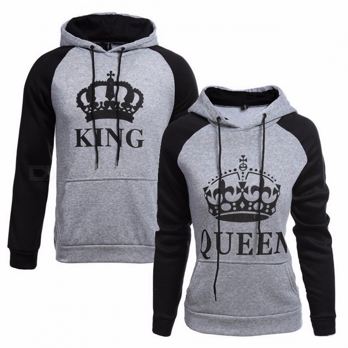 1239f1300c Knitted King Queen Letter Printed Couple Hoodies, Hip Hop Street Wear  Sweatshirt, Hooded Pullover