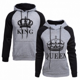 Knitted King Queen Letter Printed Couple Hoodies, Hip Hop Street Wear Sweatshirt, Hooded Pullover Tracksuit for Autumn Winter L/King for Men