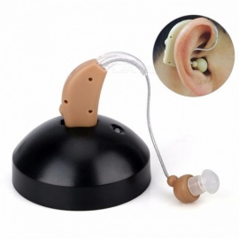 BSTUO Mini Rechargeable In-ear Hearing Aid, BTE Sound Amplifier - Light Brown (US Plug)