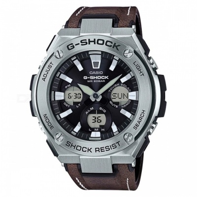 Casio G-Shock GST-S130L-1A Tough Leather Watch - Silver + Dark Brown