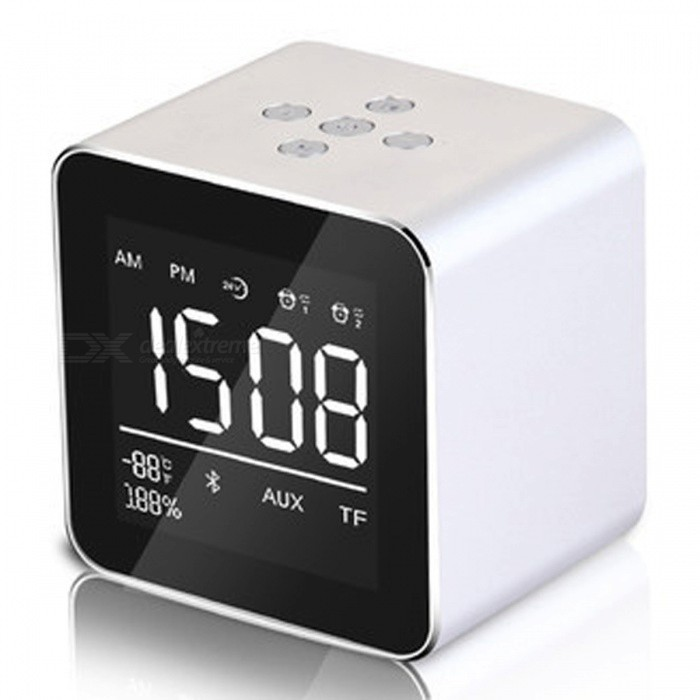 Multifunction LED Display Alarm Clock, Mini Wireless Bluetooth Speaker with Built-in Mic, 8H Music Playing Time - Silverdesk clock<br>ColorSilverMaterialPlasticQuantity1 setScreen TypeOthersPower SupplyOthersPacking List1 x Bluetooth Speaker1 x Charging Cable1 x Product Instruction<br>