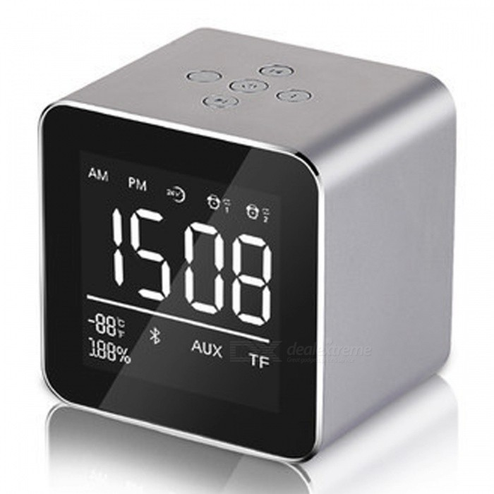 Multifunction LED Display Alarm Clock, Mini Wireless Bluetooth Speaker with Built-in Mic, 8H Music Playing Time - Graydesk clock<br>ColorGrayMaterialPlasticQuantity1 setScreen TypeOthersPower SupplyOthersPacking List1 x Bluetooth Speaker1 x Charging Cable1 x Product Instruction<br>