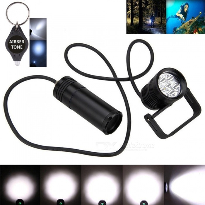 AIBBER TONE High Quality Underwater 150m 10000LM 6x L2 LED SCUBA Diving Flashlight Torch Light + BracketDiving Flashlights<br>ColorBlackModelDIV10Quantity1 setMaterialOthersEmitter BrandCreeLED TypeXM-L2Emitter BINU2Color BINWhiteNumber of Emitters6Theoretical Lumens10000 lumensActual Lumens10000 lumensPower Supply18650Working Voltage   7.4-11 VCurrent- ARuntime- hourNumber of Modes3Mode ArrangementHi,Mid,LowMode MemoryNoSwitch TypeReverse clickySwitch LocationHeadLens MaterialToughened glassReflectorAluminum SmoothWorking Depth Underwater150 mStrap/ClipNoPacking List1x  D1V10 diving torch.1 x Stent2 x O rings1 x Hexagonal spanner<br>