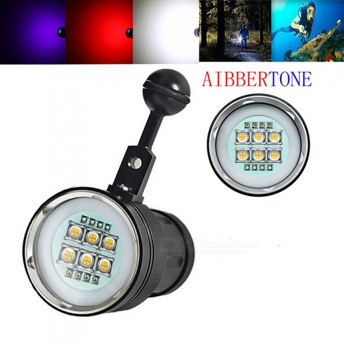 AIBBER TONE 6x Cree SST-90 White LED + 4x Red Light + 4x Purple Light Underwater Video Light, Diving FlashlightDiving Flashlights<br>BundlesNo Battery and ChargerModelXHP90Quantity1 setMaterialAviation aluminumEmitter BrandCreeLED TypeOthers,XHP90Emitter BINothers,XM-LColor BINRed,Purple,WhiteNumber of EmittersOthers,14Theoretical Lumens15000 lumensActual Lumens12000 lumensPower Supply4x18650Working Voltage   2.8~4.5 VCurrent4.5 ARuntime5~6 hoursNumber of Modes3Mode ArrangementHi,Mid,LowMode MemoryNoSwitch TypeForward clickySwitch LocationSideLens MaterialPolycarbonate BoardReflectorNoWorking Depth Underwater100 mStrap/ClipNoPacking List1 x Diving Flashlight1 x Flashlight holder<br>