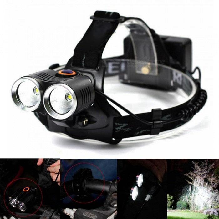SENCART T6 5-Mode Super Bright Dual Use Rechargeable Headlamp for Hunting, Fishing, Mining, EtcHeadlamps<br>ColorBlackModelHeadlampQuantity1 pieceMaterialAluminum and ABS PlasticEmitter BrandCreeLED TypeXM-LEmitter BINT6Color BINCold WhiteNumber of Emitters2Working Voltage   3.7 VPower Supply2Current2 AActual Lumens4000 lumensRuntime12 hourNumber of Modes5Mode ArrangementOthers,1 xCREE XM-L T6 / 2 xCREE XM-L T6 / 3 xCREE XM-L T6 / Stobe / Strobe alternatelyMode MemoryNoSwitch TypeClicky SwitchSwitch LocationHeadLensGlassReflectorAluminum SmoothBand Length18 cmCompatible CircumferenceUniversalBeam Range150-200 mPacking List1 x CREE XM-L T6 LED Rechargeable Headlamp1 x Bicycle Bracket Holder1 x Bicycle Lamp Battery Holder Bag<br>