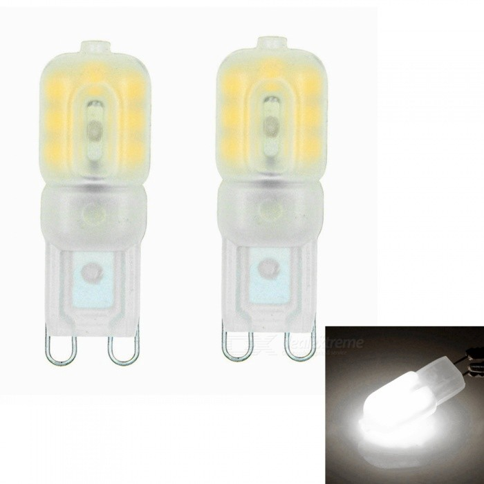 Sencart G9 3W 14x2835 SMD Natural White LED Dimmable Light with Cream ABS Cover, AC110-130V (2 PCS)G9<br>Color110V Natural WhiteModelG9MaterialABS+PCB+LEDForm  ColorWhiteQuantity1 setPower3WRated VoltageAC 110-130 VConnector TypeG9Chip BrandEpistarChip Type2835Emitter TypeOthers,2835 SMD LEDTotal Emitters14Theoretical Lumens270 lumensActual Lumens220 lumensColor Temperature12000K,Others,4200K-4500KDimmableYesBeam Angle360 °Packing List2 x G9 LED Lights<br>