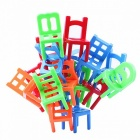 18pcs environmentally-friendly abs plastic mini balance chairs board game, educational balance toy puzzle for children kids  colorful
