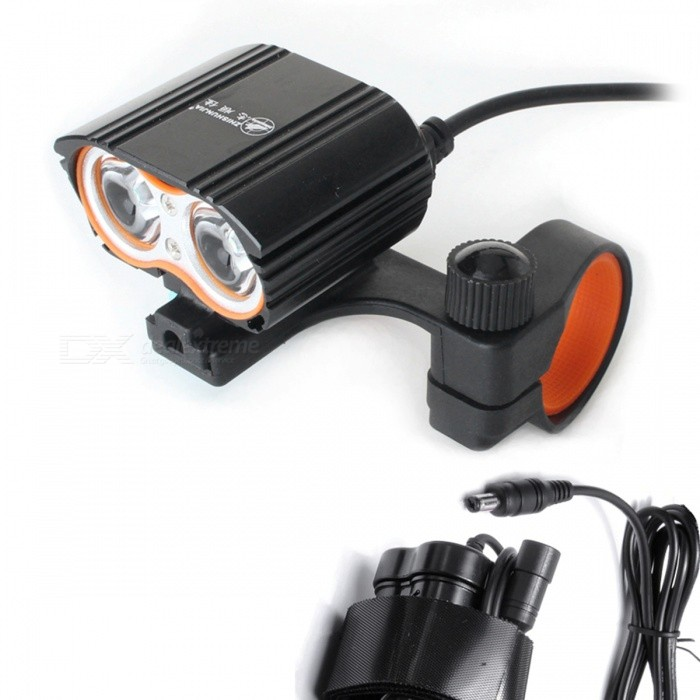 ZHISHUNJIA DC4.2-8.4V XML T6 LED 1400lm 4-Mode White Bike Light Headlamp - BlackBike Lights<br>ColorBlack - DC 4.2-8.4VModelTX2T6Quantity1 setMaterialAluminium alloyEmitter BrandCreeLED TypeXM-LEmitter BINT6Number of Emitters2Color BINWhiteWorking Voltage   DC4.2-8.4 VPower Supply4.2-8.4V power supplyCurrent3.8 ATheoretical Lumens2000 lumensActual Lumens1600 lumensRuntime4 hourNumber of Modes4Mode ArrangementHi,Mid,Low,Fast StrobeMode MemoryNoSwitch TypeForward clickyLensGlassReflectorAluminum SmoothFlashlight MountingHandlebarSwitch LocationTailcapBeam Range200 mBike Lamp Interface Size5.5*2.1Battery Pack Interface Size5.5*2.1Packing List1 x Bike Light1 x Bracket<br>