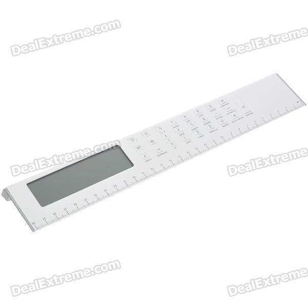 "3.7"" LCD Ruler Calculator with World Time/Calendar/Alarm/Countdown - White (1*CR2025)"