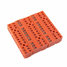 600V 36A 12-Position Double Row Screw Terminal Block - Orange (5 PCS)