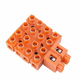600V 36A 2-Position Double Row Screw Terminal Block - Orange (5 PCS)