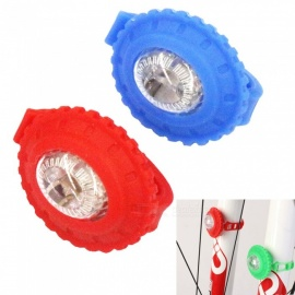 Mini Sunflower Shape 3-Mode Silicone Bike Light - Red + Blue (2 PCS)