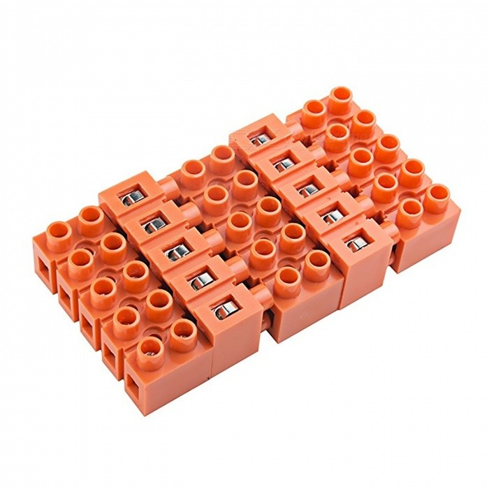 600V 36A 5-Position Double Row Screw Terminal Block - Orange (5 PCS)DIY Parts &amp; Components<br>ColorOrangeModel2519-5Quantity5PCSRate Voltage600VRated Current36AModel2519-5Quantity5 piecesMaterialPC resin material, flame retardant, brass terminals.English Manual / SpecNoOther Features600V 36ACertificationISO900Packing List5 x Barrier Terminal Blocks<br>