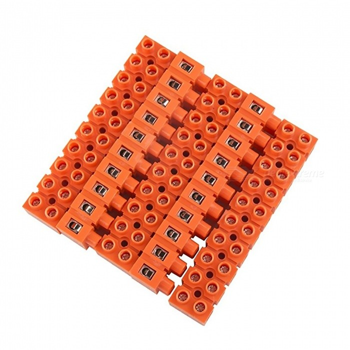 600V 36A 10-Position Double Row Screw Terminal Block - Orange (5 PCS)DIY Parts &amp; Components<br>ColorOrangeModel2519-10Quantity5PCSRated Current36ARate Voltage600VModel2519-10Quantity5 piecesMaterialPC resin material, flame retardant, brass terminals.English Manual / SpecNoOther Features600V 36ACertificationIOS9001Packing List5 x Barrier Terminal Blocks<br>