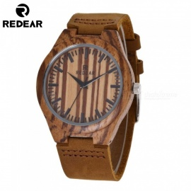 REDEAR Fashion Men' Wooden Grain Luxury Quartz Watch with Leather Band