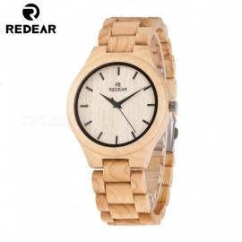 REDEAR Wooden Watch for Men and Women, Handmade Unisex Natural Maple Wood Watch Wristwatch with Size Adjustment Tool