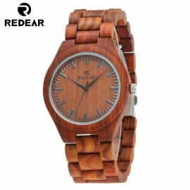 REDEAR Red Sandalwood Men's Watch, Wooden Quartz Movement Wristwatch with Size Adjustment Tool and Gift Box