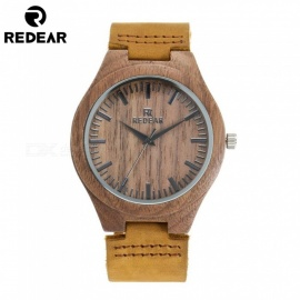 Redear New Analog Luxury Wood Watch for Men, Maple Walnut Wooden Quartz Wrist Watch