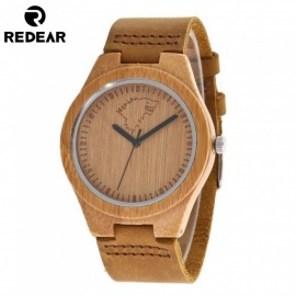 REDEAR Natural Bamboo Men's Wood Watch with Wolf Carved Pattern Genuine Cowhide Leather Band