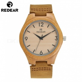 REDEAR 1448 Bamboo Wooden Quartz Wrist Watch with Genuine Brown Leather Strap for Men