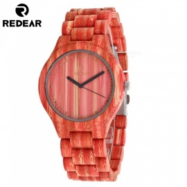 1473 Women's Wrist Watch Wooden Watch Case with Japan Movement Quartz Wristwatch - Red