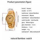 1473 Luxury Stylish Bamboo Quartz Wrist Watch for Women