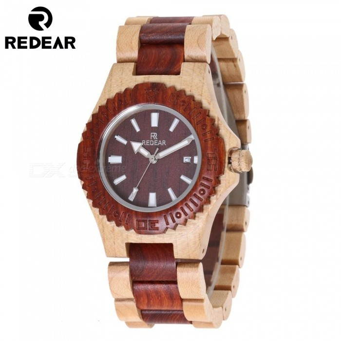 REDEAR Maple Wood Fashion Womens Quartz Wrist Watch - BrownQuartz Watches<br>ColorBrownModel1511Quantity1 setShade Of ColorBrownCasing MaterialWoodWristband MaterialWoodSuitable forAdultsGenderMenStyleWrist WatchTypeFashion watchesDisplayAnalog + DigitalMovementQuartzDisplay Format12 hour formatWater ResistantFor daily wear. Suitable for everyday use. Wearable while water is being splashed but not under any pressure.Dial Diameter4.3 cmDial Thickness1.2 cmWristband Length25 cmBand Width2 cmBatterySony 626CertificationCEPacking List1 x Watch1 x Box1 x Hole puncher1 x Specification<br>