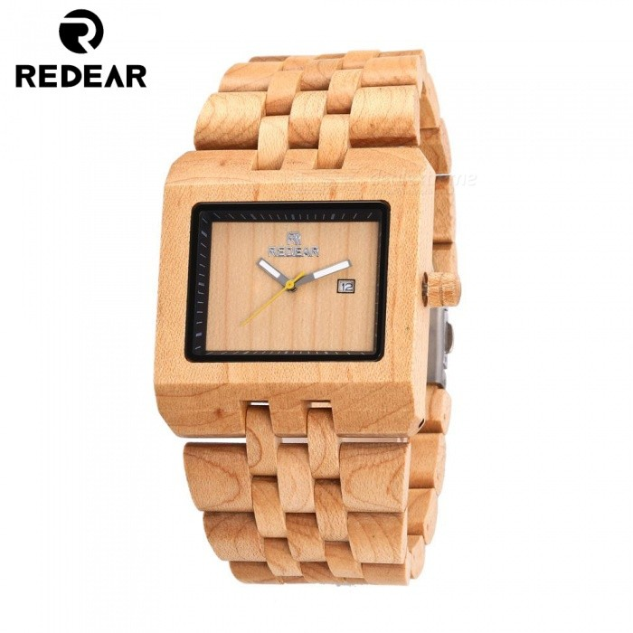 REDEAR 1525 Mens Luxury Wooden Quartz Wrist WatchQuartz Watches<br>ColorWood ColorModel1525Quantity1 setShade Of ColorMulti-colorCasing MaterialWoodWristband MaterialWoodSuitable forAdultsGenderMenStyleWrist WatchTypeFashion watchesDisplayAnalogMovementQuartzDisplay Format12 hour formatWater ResistantFor daily wear. Suitable for everyday use. Wearable while water is being splashed but not under any pressure.Dial Diameter4.6 cmDial Thickness1.2 cmWristband Length25 cmBand Width2.5 cmBatterySony 626CertificationCEPacking List1 x Watch1 x Box1 x Hole puncher1 x Specification<br>