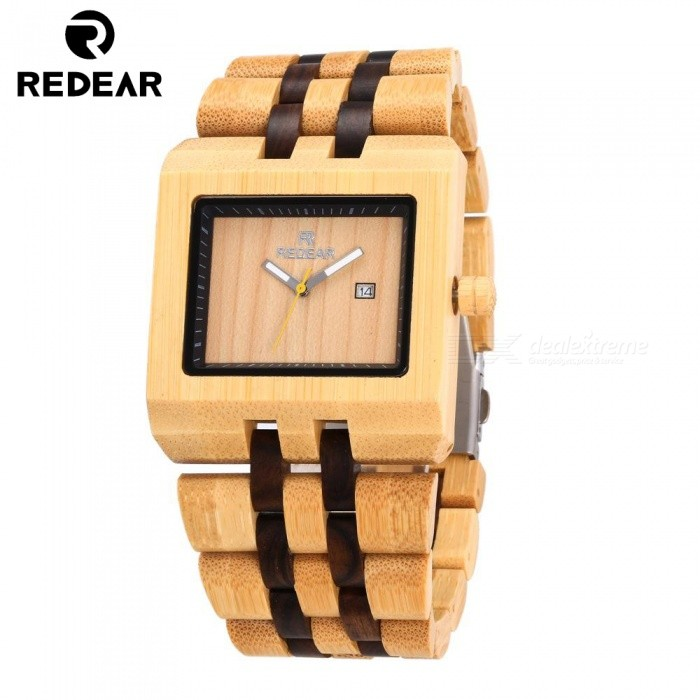 REDEAR 1525 Fashion Bamboo Quartz Wrist Watch for MenQuartz Watches<br>ColorWood ColorModel1525Quantity1 setShade Of ColorYellowCasing MaterialBambooWristband MaterialBambooSuitable forAdultsGenderMenStyleWrist WatchTypeCasual watchesDisplayAnalog + DigitalMovementQuartzDisplay Format12 hour formatWater ResistantFor daily wear. Suitable for everyday use. Wearable while water is being splashed but not under any pressure.Dial Diameter4.7 cmDial Thickness1.2 cmWristband Length25 cmBand Width2.2 cmBatterySony 626Packing List1 x Watch1 x Box1 x Hole puncher1 x Specification<br>