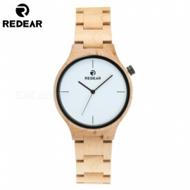 REDEAR 1603 Unisex Natural Maple Wood Wooden Watch Handmade Wrist Watch with Size Adjustment Tool for Men and Women - White