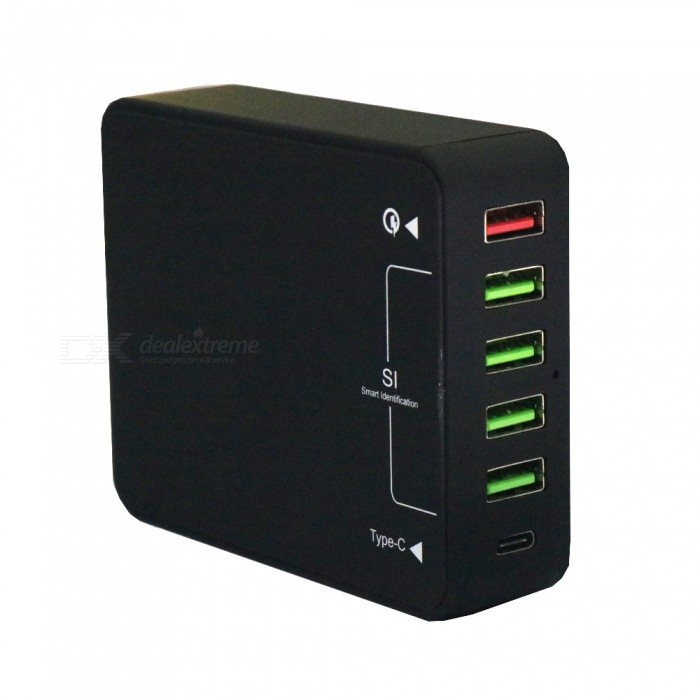 QC3.0 Fast Quick Charge 6 USB Smart Charger Type-C Charger - US PlugPlugs &amp; Sockets<br>Power AdapterUS PlugQuantity1 setMaterialABSFireproof MaterialYesRate VoltageAC100-240V; 50 / 60Hz.Rated Current8 ARated Power40 WCompatible PlugOthers,USB  / Type-CGroundingYesOutlet6 setWith Switch ControlNoSurge Protection FunctionYesLightning Protection FunctionYesWith FuseYesCable Length1.2 mPower AdapterUS PlugPacking List1 x Charger1 x Charging cable<br>