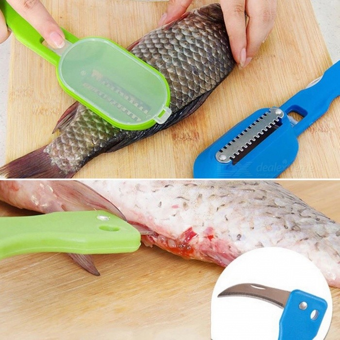 Fish Cleaning Tool Machine Knife Peeler for Scraping Fish Scales, Clean Convenient Creative Home Kitchen Cooking ToolKitchen Gadgets<br>ColorRandom ColorModelE8-25MaterialABS + Stainless steelQuantity1 setPacking List1 x Fish Cleaning Tool<br>
