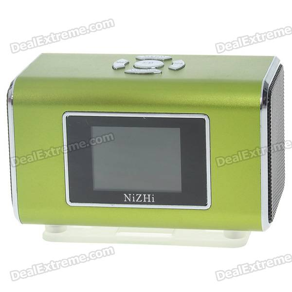 "Rechargeable Portable 1.3"" LCD TF/USB MP3 Music Speaker with FM Radio - Green (3.5mm Jack)"