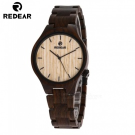 REDEAR 1603 Unisex Wooden Wrist Watch Japanese Movement Watch for Men and Women - Black