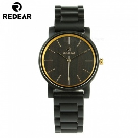 REDEAR 1624 Latest Wooden Quartz Watch with Wooden Band for Men - Black