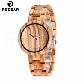 Redear 1628 Luxury Natural Sandalwood Quartz Watch with Wooden Band for Men, Women