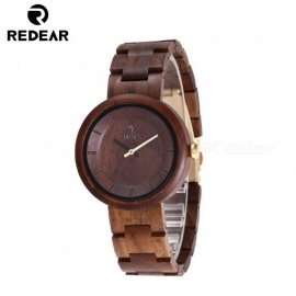 REDEAR 1628 Natural Wood Quartz Analog Wooden Wristwatch for Women - Walnut
