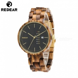 REDEAR 1639 Maple Wood and Red Sandalwood Wooden Quartz Wrist Watch with Calendar for Men