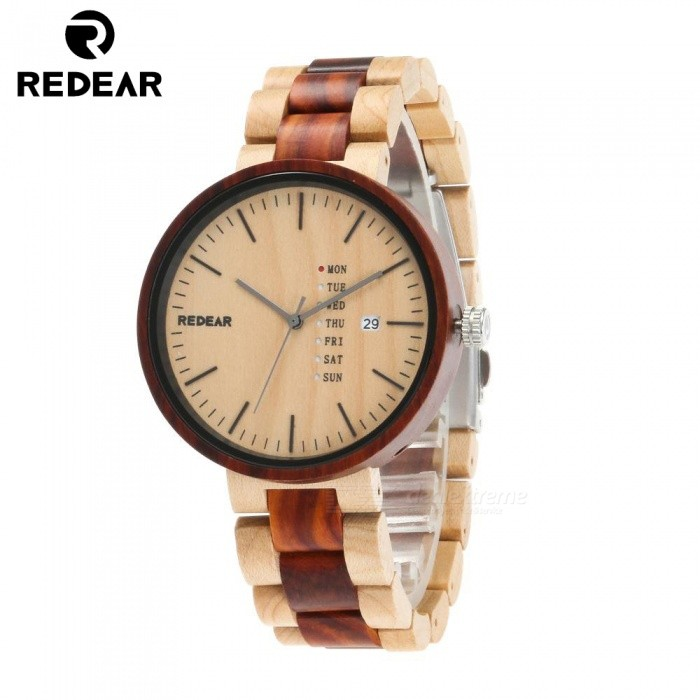 REDEAR 1639 Mens Maple Wood and Red Sandalwood Wooden Quartz Wrist Watch with CalendarQuartz Watches<br>ColorMapleModel1639Quantity1 setShade Of ColorMulti-colorCasing MaterialWoodWristband MaterialWoodSuitable forAdultsGenderMenStyleWrist WatchTypeFashion watchesDisplayAnalog + DigitalMovementQuartzDisplay Format12 hour formatWater ResistantFor daily wear. Suitable for everyday use. Wearable while water is being splashed but not under any pressure.Dial Diameter4.3 cmDial Thickness1.1 cmWristband Length25 cmBand Width2 cmBatterySony 626Packing List1 x Watch1 x Box1 x Hole puncher1 x Specification<br>